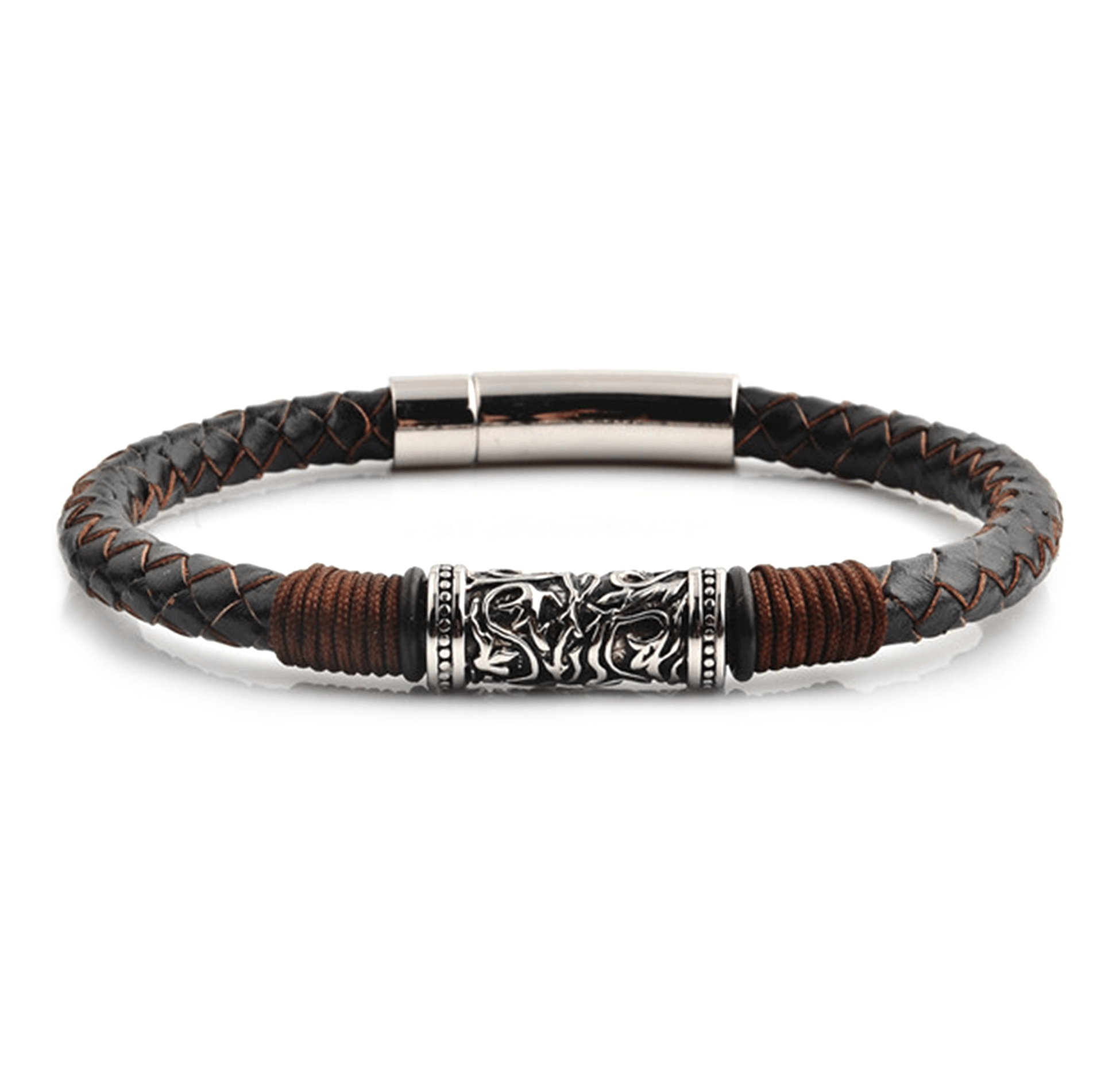 HYLIZO Nelore Series 001 - Genuine Dark Brown Leather Edition bracelet with 316 Stainless Steel Engraving