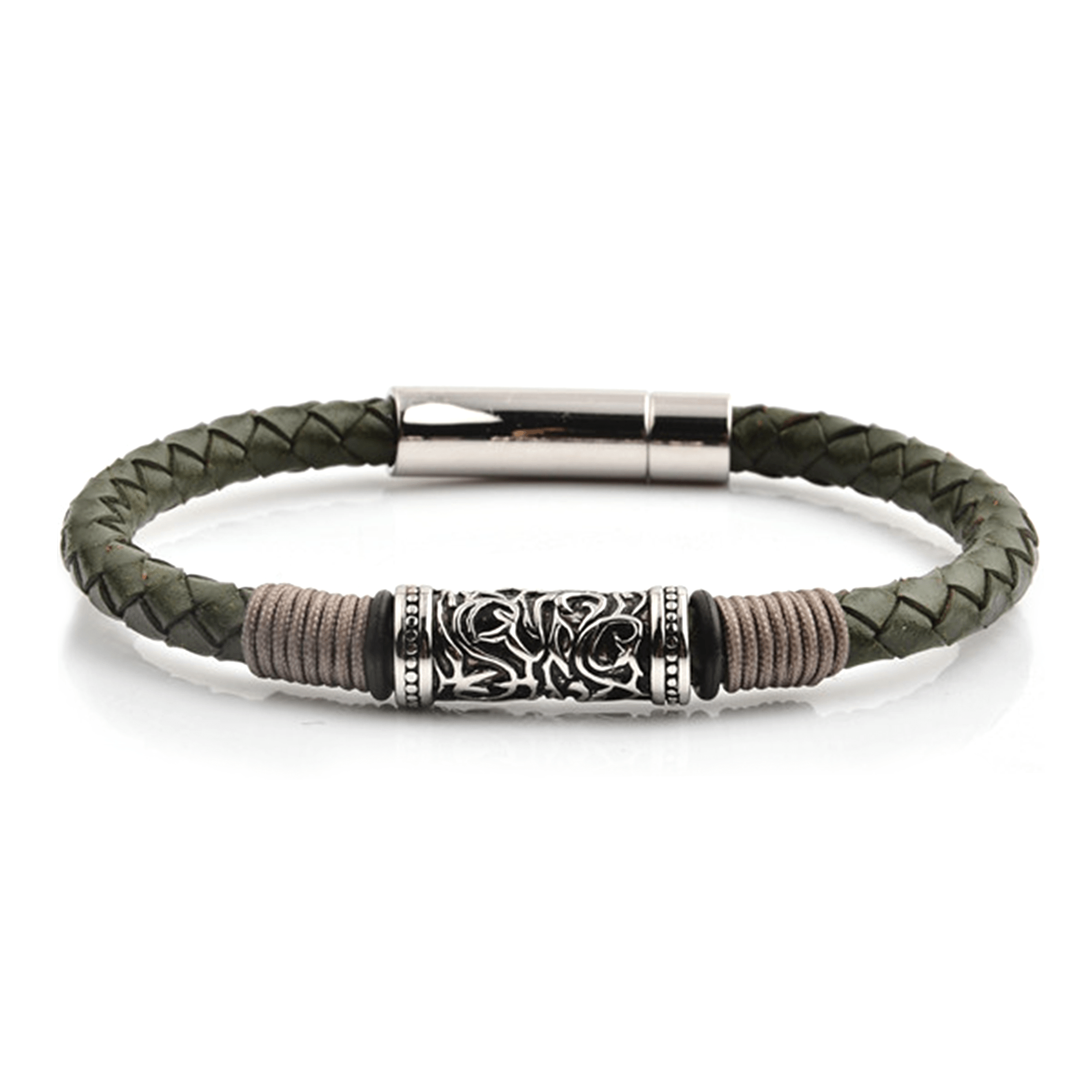 HYLIZO Nelore Series 004 - Green Leather bracelet with 316 Stainless Steel Engraving and Stainless steel Clasp