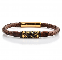 HYLIZO Nelore Series 014 - Genuine Brown Cow Leather Gold Edition bracelet with 316 Stainless Steel Gold Engraving