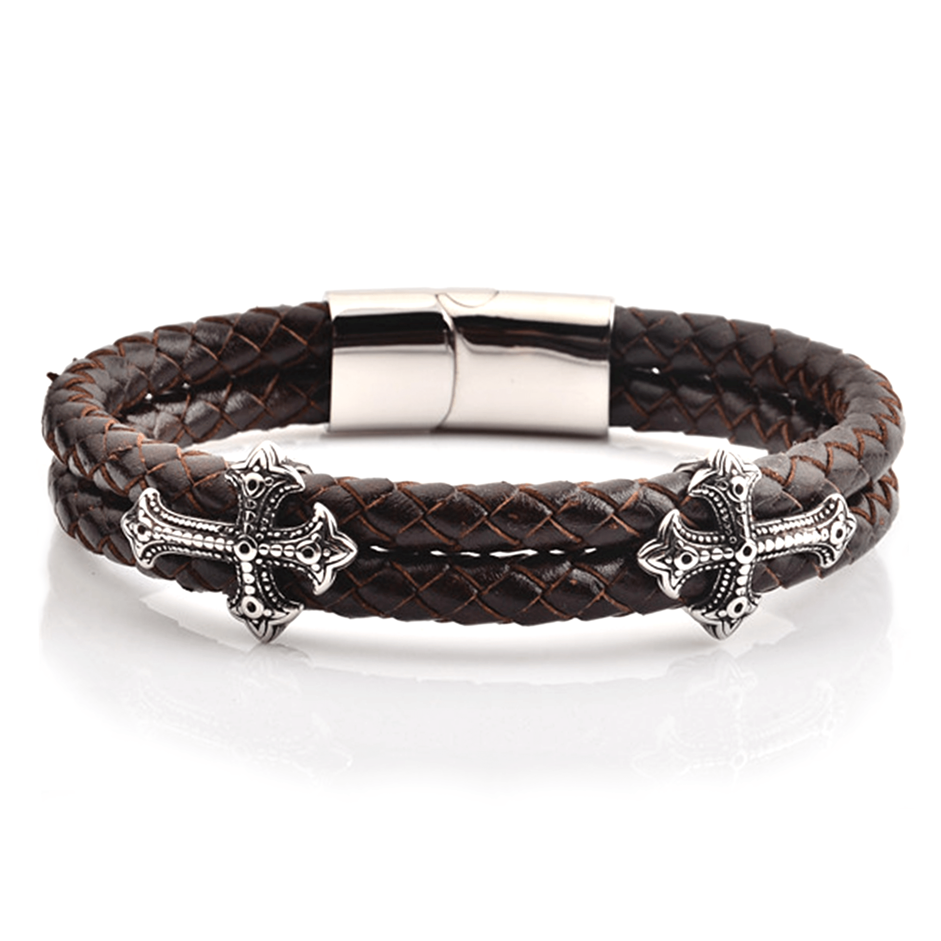 HYLIZO Nelore Series 385 - Rustic Brown Leather bracelet with 316 Stainless Steel Engraved Cross and Stainless steel Clasp