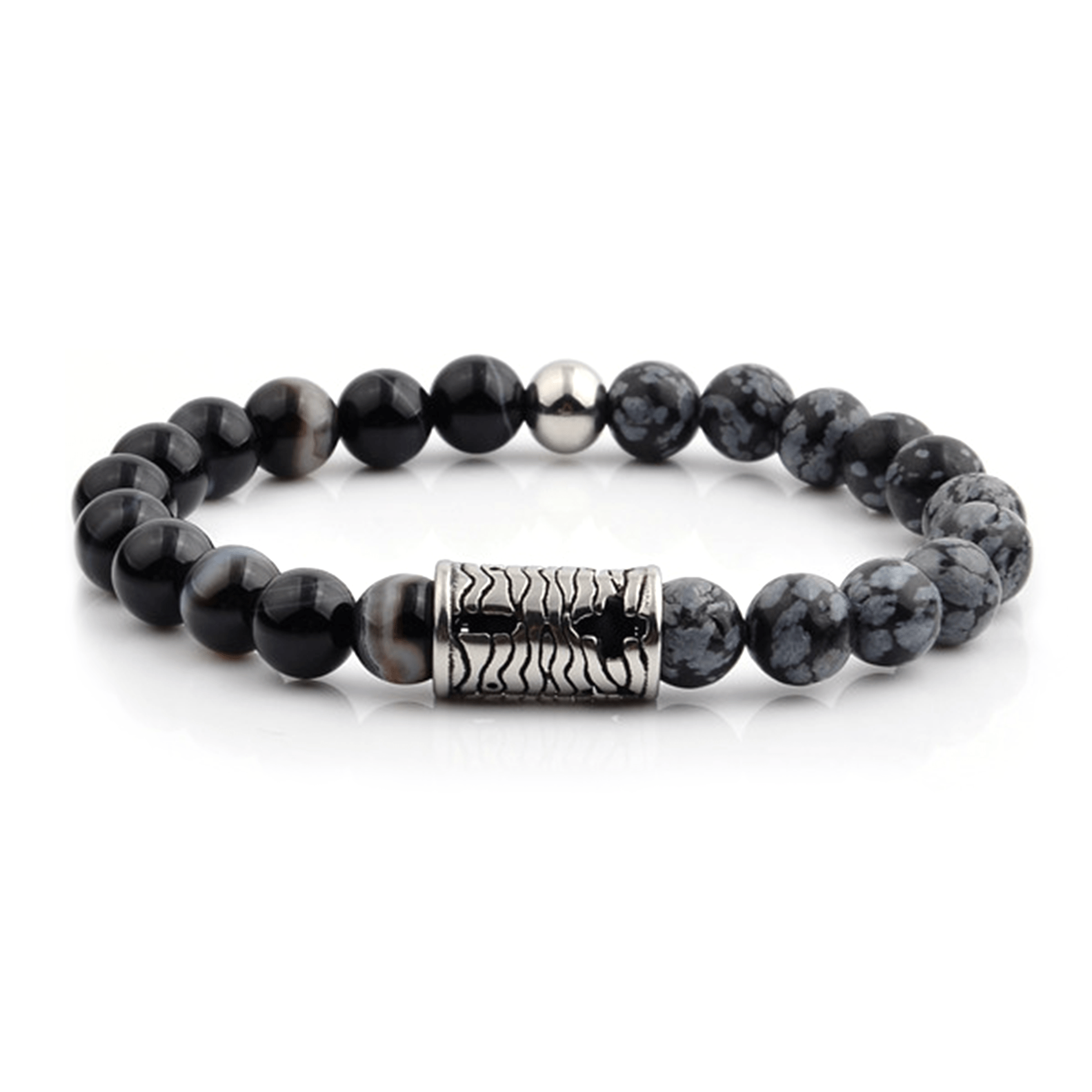 HYLIZO X Series 012 - Black Marble Beaded bracelet with 316 Stainless Steel Engraving +/-