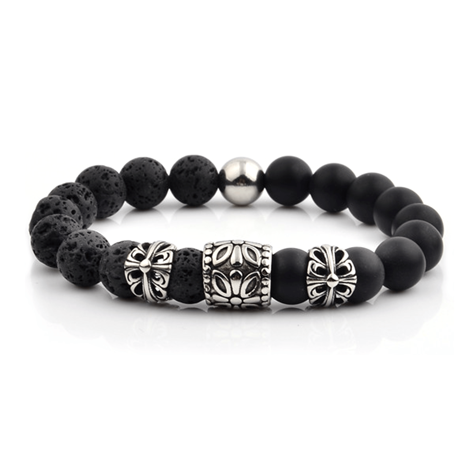 HYLIZO X Series 016 - Black Matte Onyx & Volcano Beaded bracelet with 316 Stainless Steel Luxury Floral Engraving