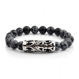 HYLIZO X Series 019 - Black Marble Beaded bracelet with 316 Stainless Steel Luxury Engraving