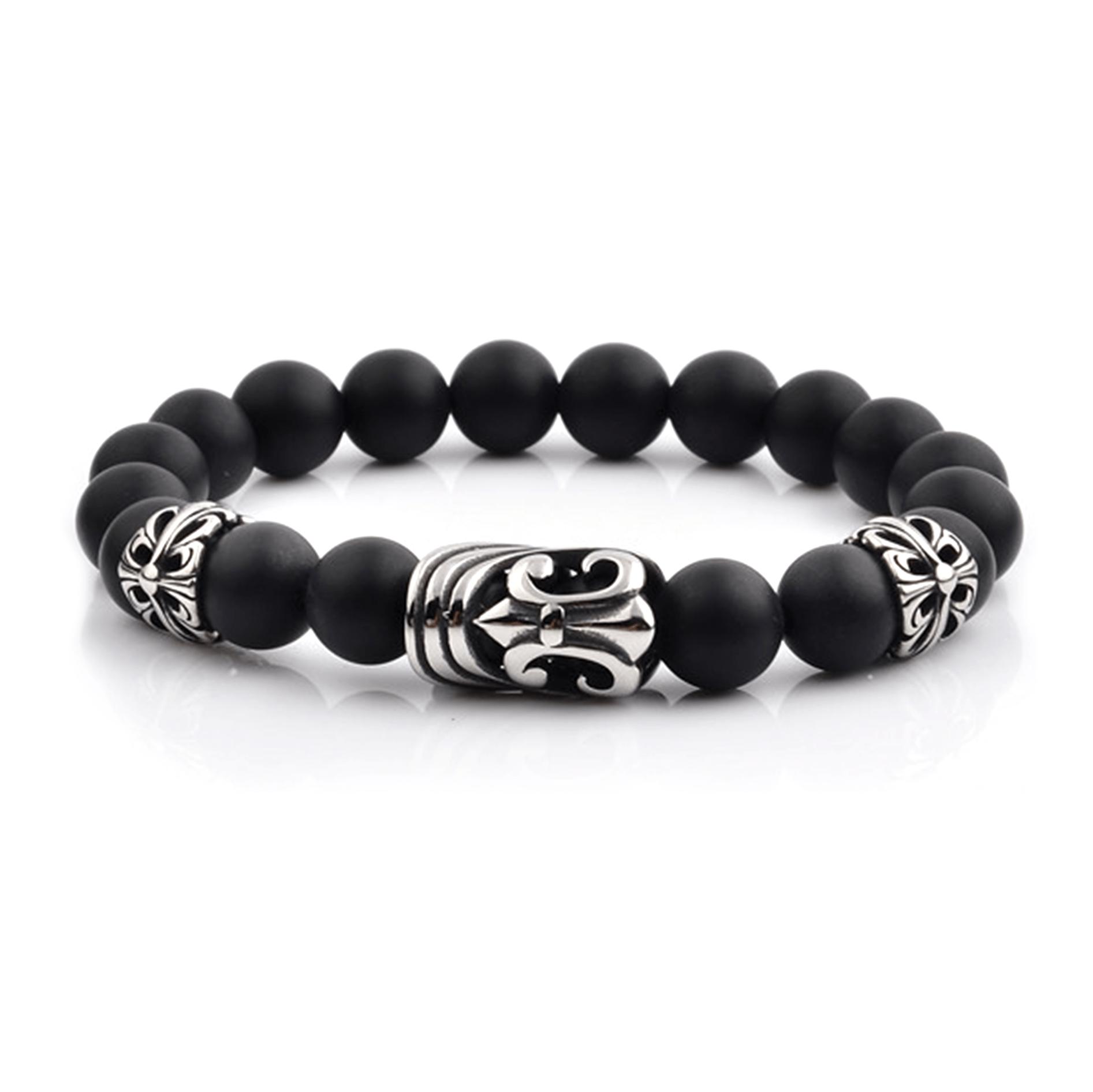 HYLIZO X Series 023 - Black Matte Beaded bracelet with 316 Stainless Steel Luxury Engraving