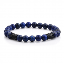 HYLIZO X Series 065 - Blue Marble Beaded bracelet with 2x 316 Stainless Steel Luxury Black Crowns