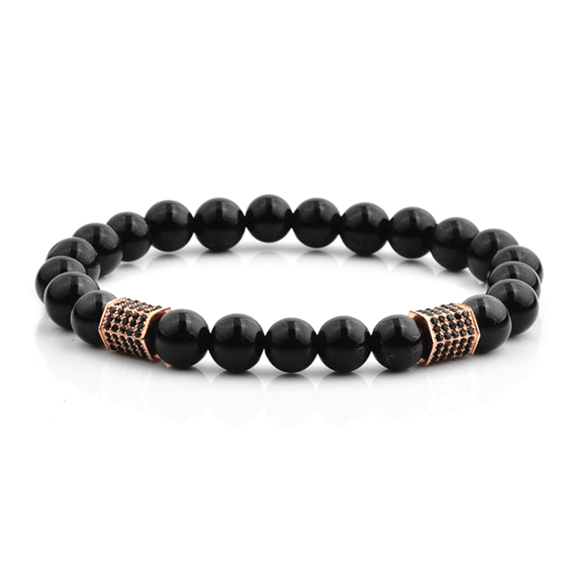 HYLIZO X Series 068 - Black Gloss Beaded bracelet with 2x 316 Stainless Steel Luxury Rose Gold Hexagon with black stones