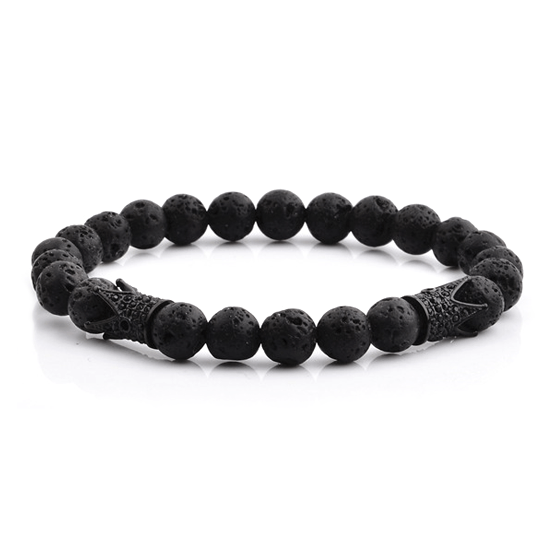 HYLIZO X Series 070 - Volcano Beaded bracelet with 2x 316 Stainless Steel Luxury Black Edition Crowns with black stones