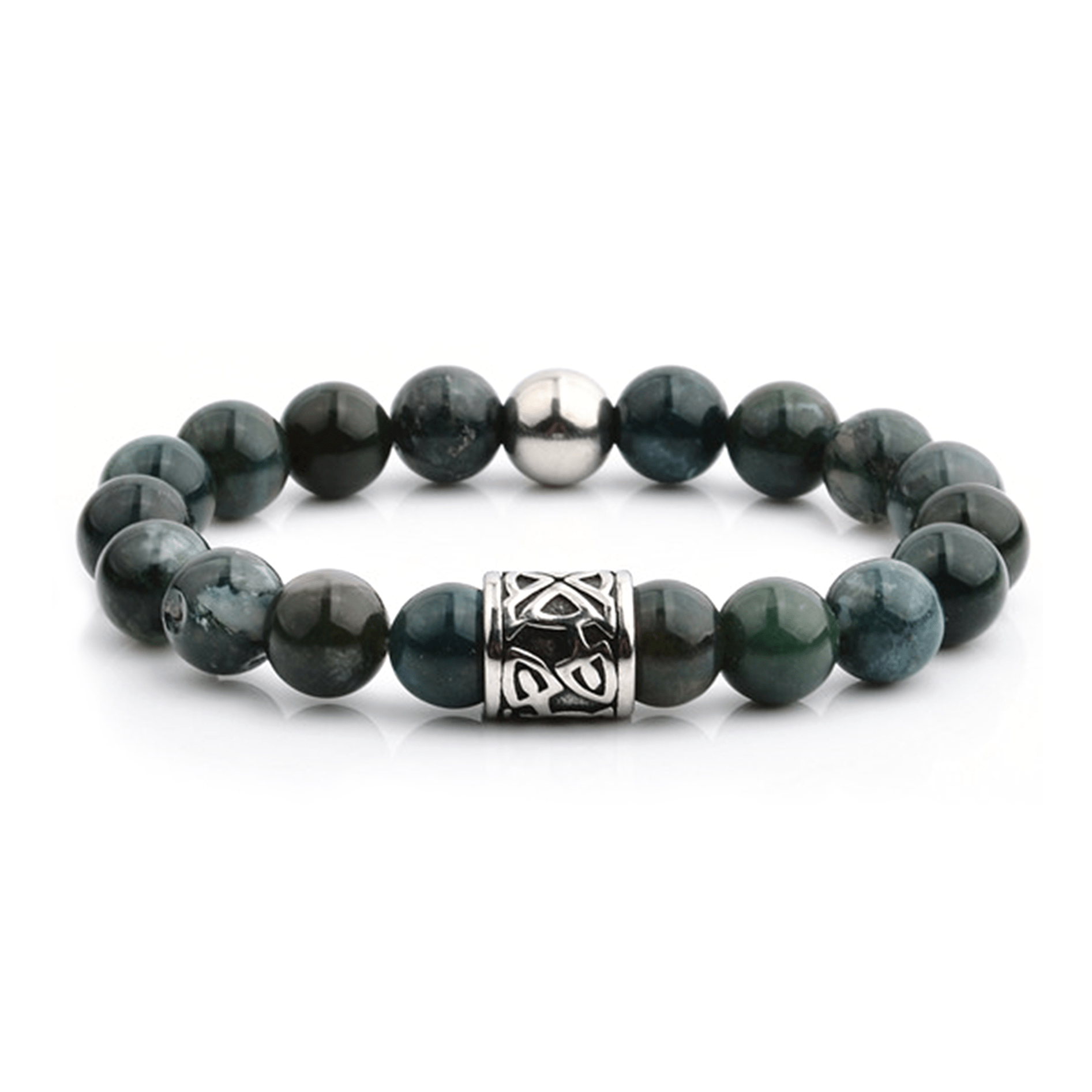 HYLIZO X Series 182 - Green Marble Beaded bracelet with 316 Stainless Steel Luxury Engraving