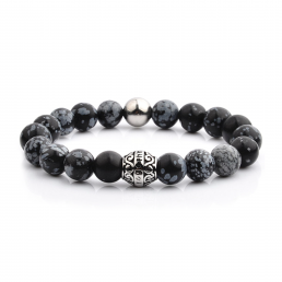 HYLIZO X Series 202 - Black Marble Beaded bracelet with 316 Stainless Steel Luxury Engraving