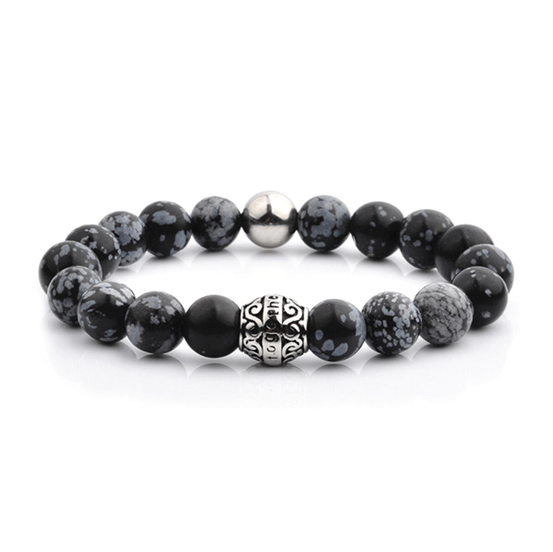 HYLIZO X Series 202 - Black Marble Beaded bracelet with 316 Stainless Steel Luxury Engraving