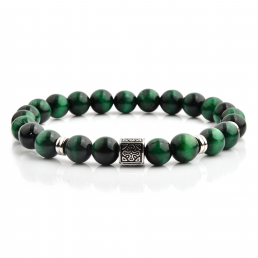 HYLIZO X Series 210 - Green Marble Beaded bracelet with 316 Stainless Steel Luxury Engraving