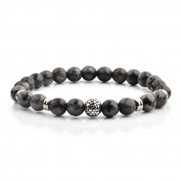 HYLIZO X Series 226 - Multi-faceted Grey Beaded bracelet with 316 Stainless Steel Luxury Engraving