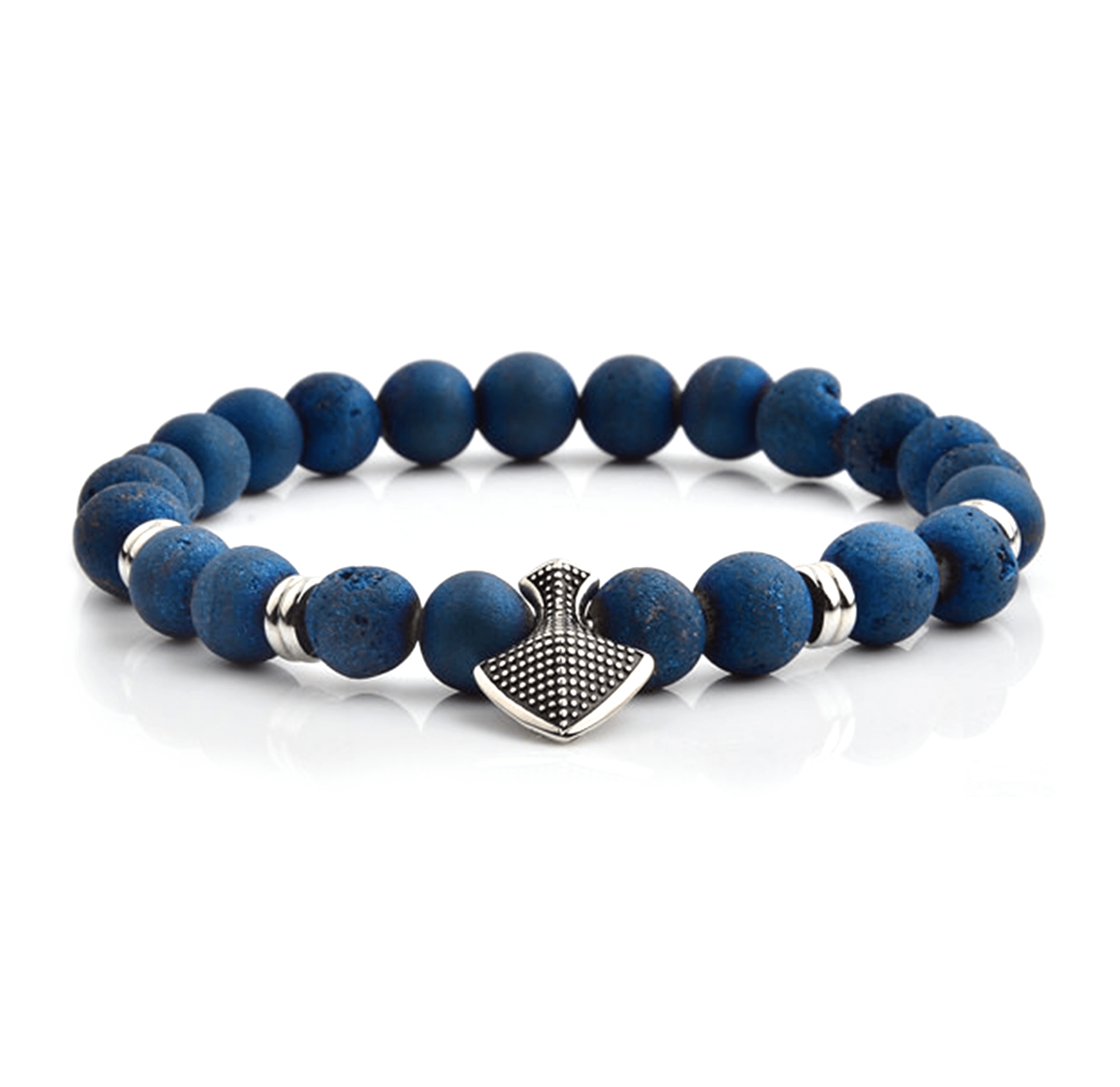 HYLIZO X Series 234 - Blue Grunge beaded Shield Edition bracelet with 316 Stainless Steel Shield