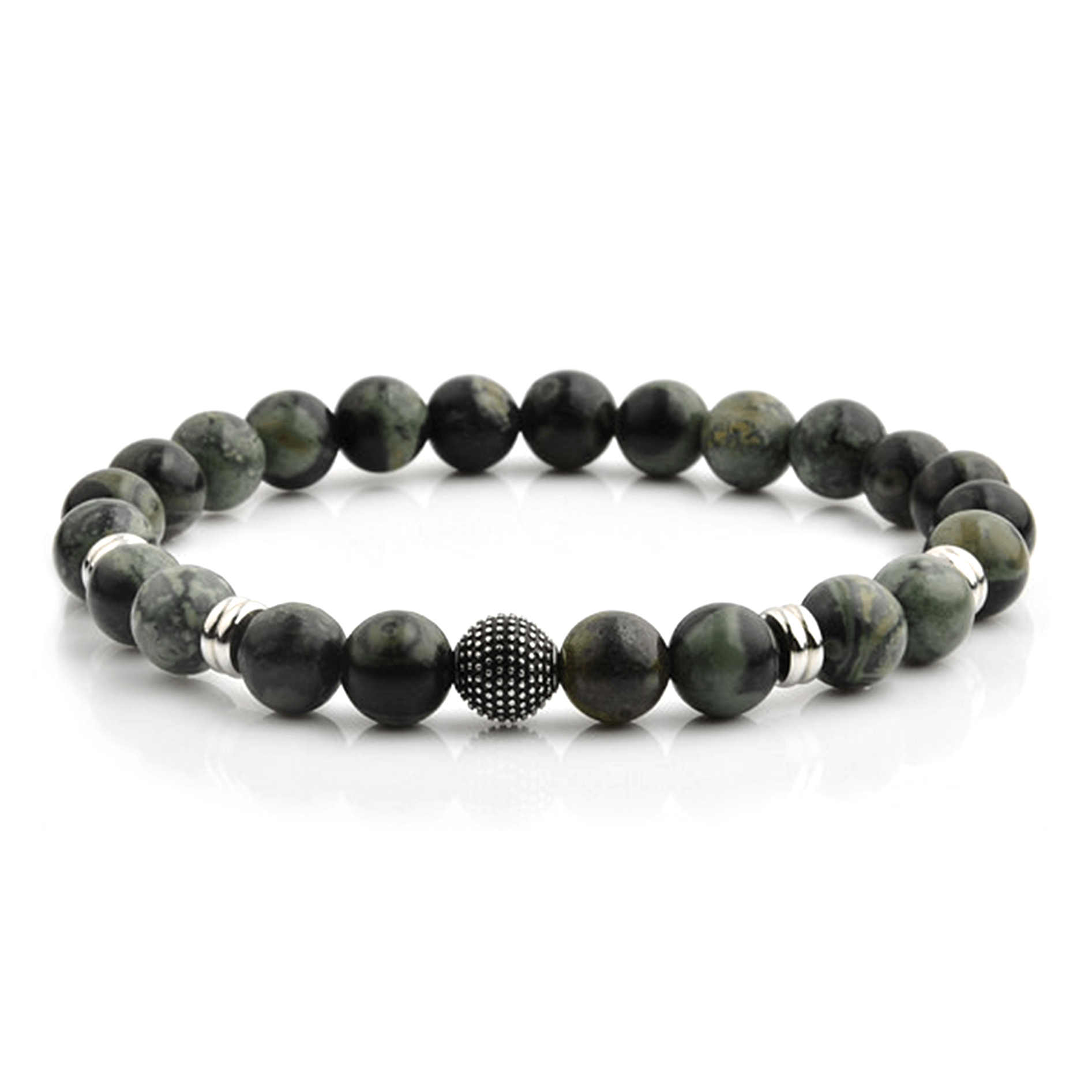 HYLIZO X Series 238 - Forest Green Beaded bracelet with 316 Stainless Steel Spike Ball