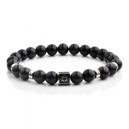 HYLIZO X Series 248 - Black Gloss Beaded bracelet with 316 Stainless Steel Luxury Engraving