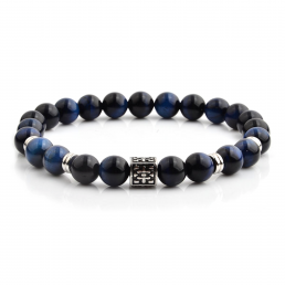 HYLIZO X Series 251 - Dark Blue Gloss Beaded bracelet with 316 Stainless Steel Engraving
