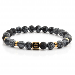 HYLIZO X Series 275 - Weathered Matte Grey Beaded bracelet with 316 Stainless Steel Luxury Gold Engraving