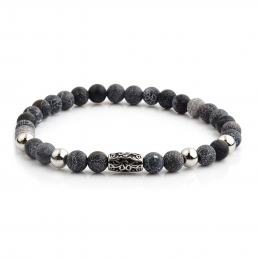 HYLIZO X Series 350 - Electric Blue/Grey Beaded bracelet with 316 Stainless Steel Luxury Engraving