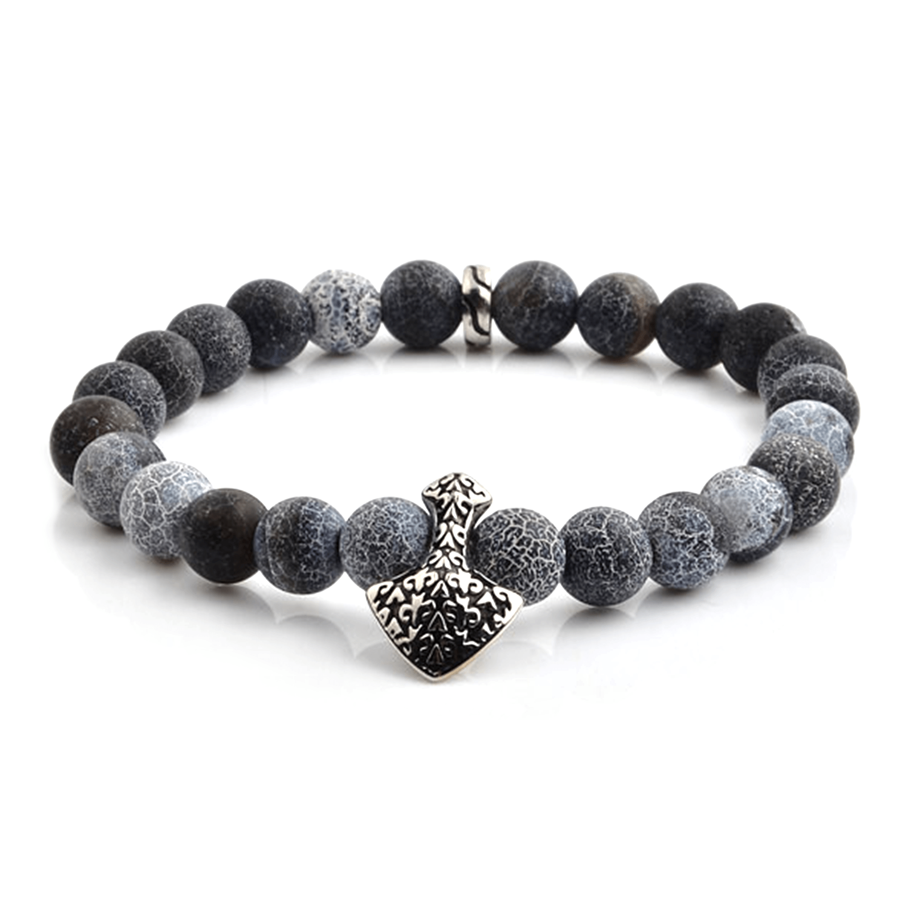 HYLIZO X Series 408 - Electric Blue/Black Shield Edition bracelet with 316 Stainless Steel Shield with fleur de lis engraving