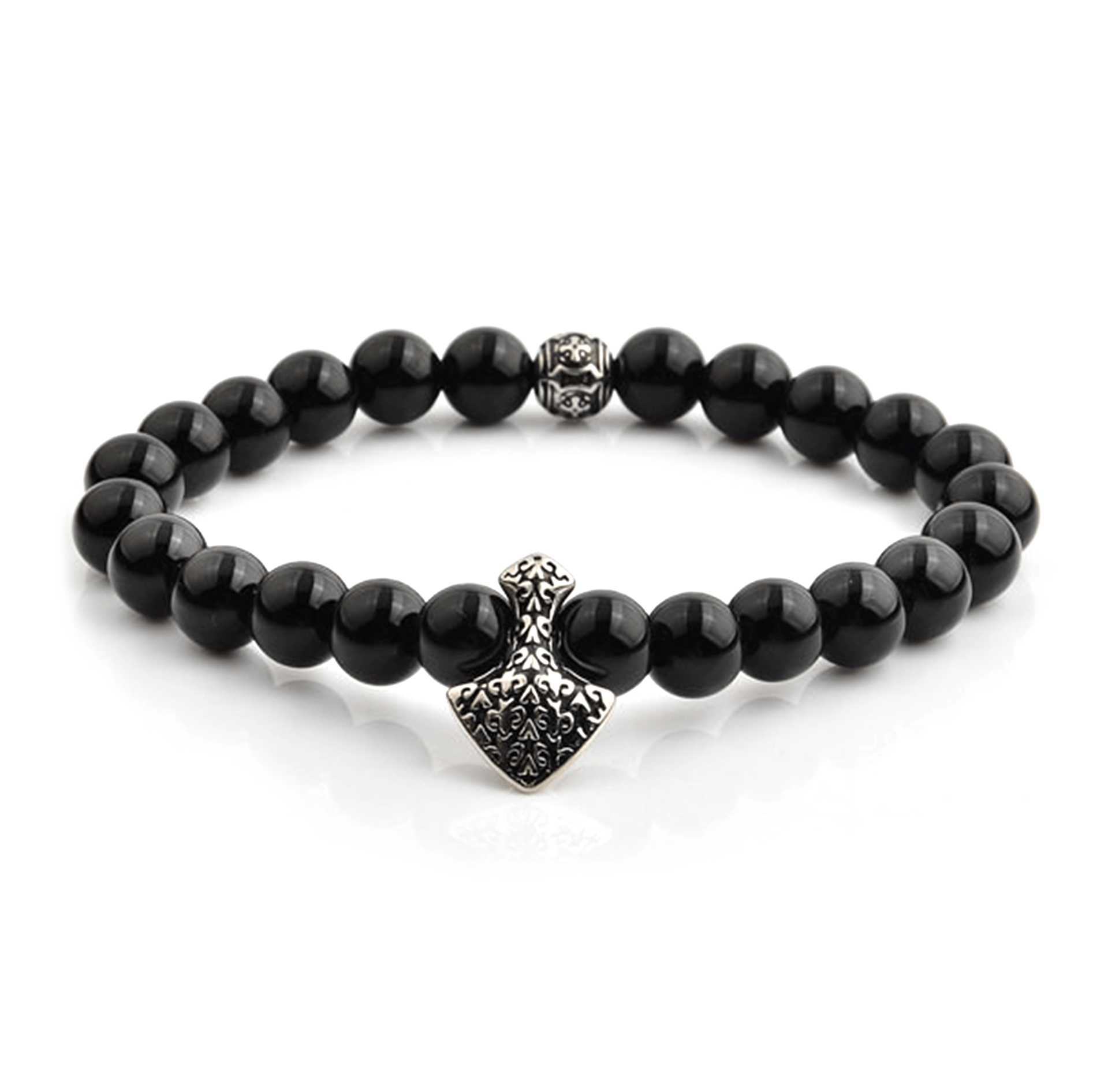 HYLIZO X Series 430 - Black Gloss beaded Shield Edition bracelet with 316 Stainless Steel Shield with fleur de lis engraving