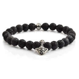 HYLIZO X Series 445 - Volcano beaded Shield Edition bracelet with 316 Stainless fleur de lis Engraving