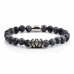 HYLIZO X Series 451 - Black Marble beaded bracelet with 316 Stainless Steel with black stone